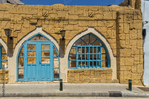 Fotobehang Cyprus Old building facade in the centre of Larnaca, Cyprus