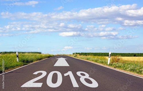 Poster 2018 - street with arrow and year - new year