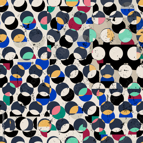 seamless geometric pattern background, with circles/dots, strokes and splashes