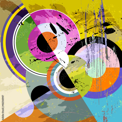 abstract circle background, retro/vintage style with paint strokes and splashes, black and white