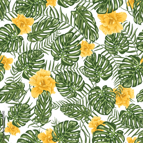 Obraz na Szkle Tropical leafs and flowers seamless pattern background
