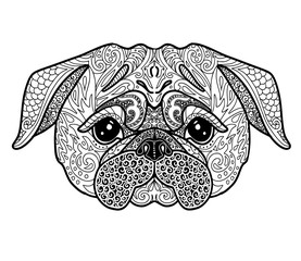 Dog Pug doodle illustration page for adult coloring book. Symbol of Chinese New Year 2018 vector illustration.