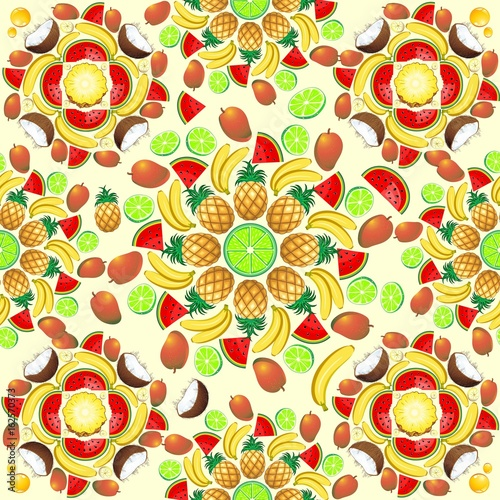 Foto op Plexiglas Draw Mandala Summer Fruit and Juice