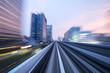 speed railroad track in modern city - 162587128