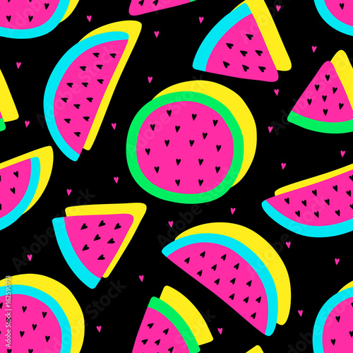 Vector seamless watermelon fruit crazy colors pattern. Watermelon slices. Very bright colorful cute cartoon background (wallpaper, fabric). Childish style, abstract pop art  - 162590713