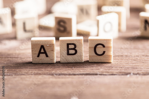 wooden elements with the letters collected in the word abc