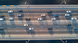 Aerial top view of bridge road automobile traffic of many cars, transportation concept  - 162603334