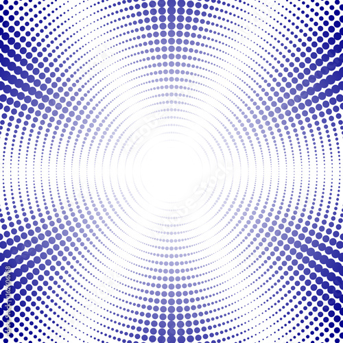 Fotobehang Pop Art Blue retro pop art background. Circles with different dots. Visual effect explosion with rays. Easy to recolor. Vector illustration.