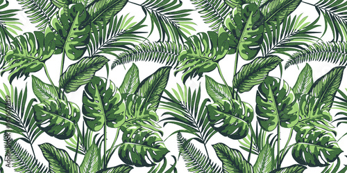 Fototapeta Tropical seamless pattern with palm leaves.