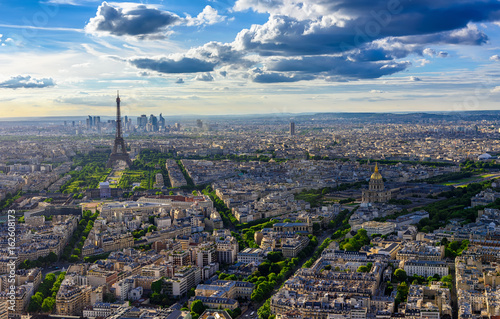 Skyline of Paris with Eiffel Tower in Paris, France Photo by ekaterina_belova