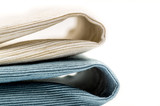 two colorful linen texture table napkins