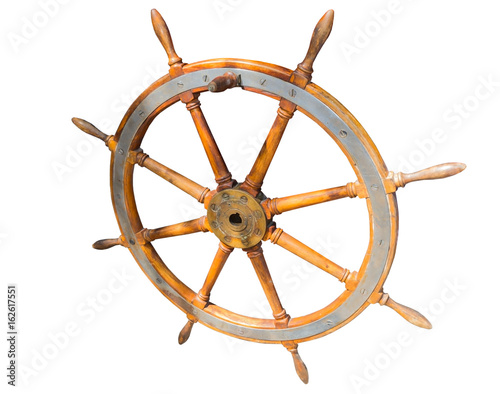 Fotobehang Schip helm of sailing boat