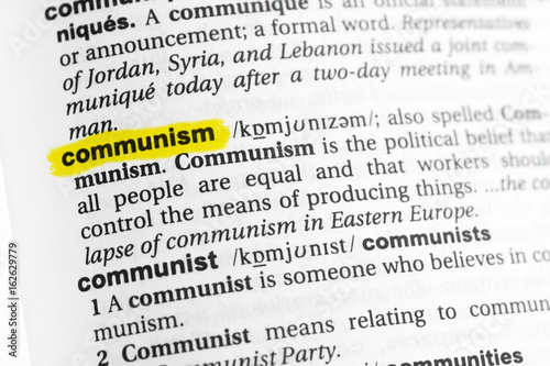 highlighted english word communism and its definition at the