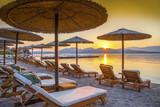 Beautiful sunrise over the beach in Corfu island, in Greece