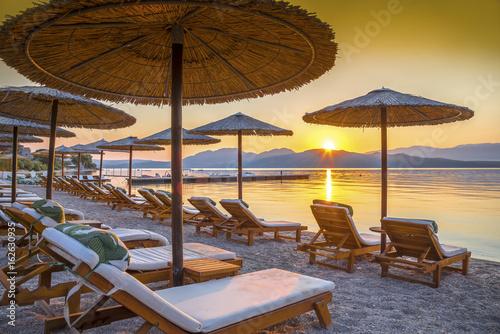 Deurstickers Ochtendgloren Beautiful sunrise over the beach in Corfu island, in Greece