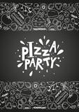 Pizza ingredients on chalkboard background - 162631163