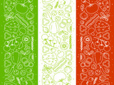Pizza ingredients borders on Italian flag background