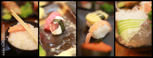 Collage close-up shot of traditional fresh japanese sushi rolls at restaurant