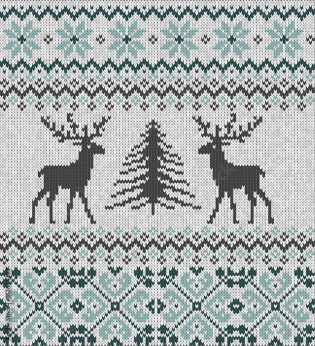 Cotton fabric Scandinavian winter ornament. Cristmas seamless 