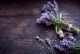 Bunches of fresh aromatic lavender on rustic wood - 162639147