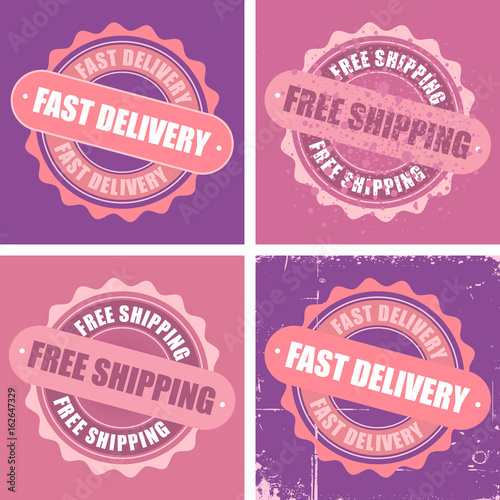 Free Shipping and Fast Delivery stamps