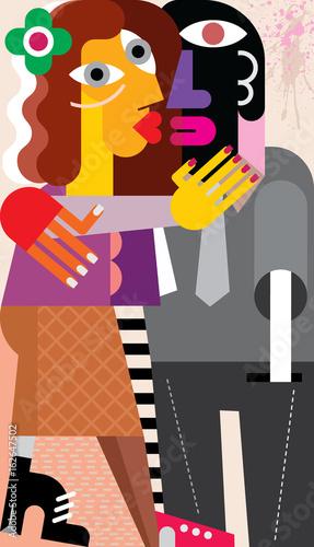 Foto op Canvas Abstractie Art Woman kissing a man