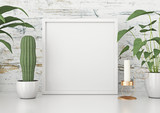 Square frame poster mock up with green plants on white wooden wall background. 3d rendering. - 162647981