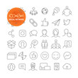 Outline icon set. Web and mobile app thin line icons. Social network