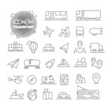 Simple icons collection. Web and mobile app outline icons set. Transport