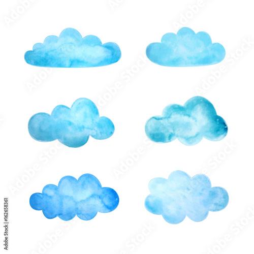 Zestaw akwarela chmur. Ilustracji wektorowych