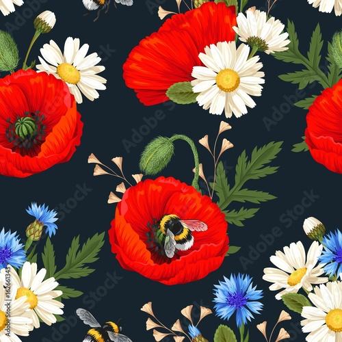 Materiał do szycia Red poppies seamless