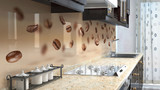 Kitchen printed glass backsplash.