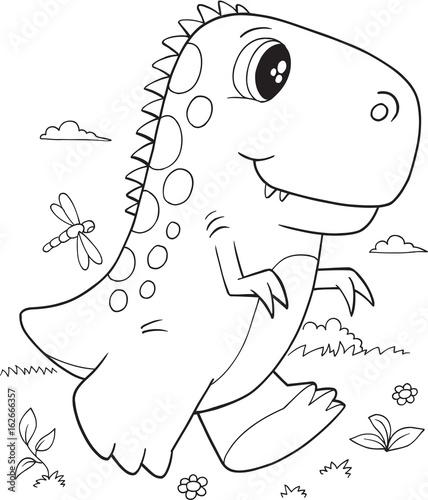 Aluminium Cartoon draw Cute T-Rex Dinosaur Vector Illustration Art