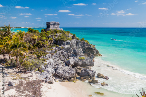 Ruins of the ancient Maya city Tulum and the Caribbean sea, Mexico
