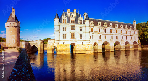 Elegant Chenonceau castle in susnset light. beautifulcastles of Loire valley in France