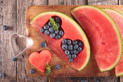 watermelon slice cut in heart shape