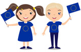 Smiling children, boy and girl, holding a European Union flag isolated on white background. Vector cartoon mascot. Holiday illustration to the Day of the country, Independence Day, Flag Day.
