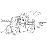 Little boy driving a toy car coloring page vector