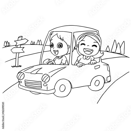 Little boy and friend driving a toy car coloring page vector