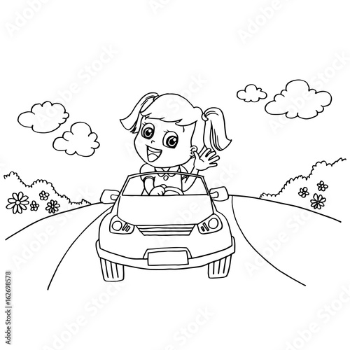 Fotobehang Auto Little girl driving a toy car coloring page vector