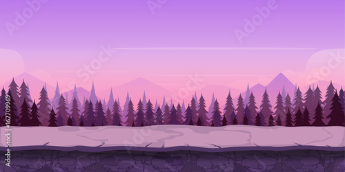 Tuinposter Purper Background for your game, created in modern purple colours. Sunset and twilight time.