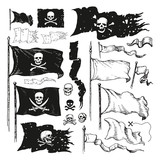Illustrated  Various Waving Pirate Flags Wall Sticker