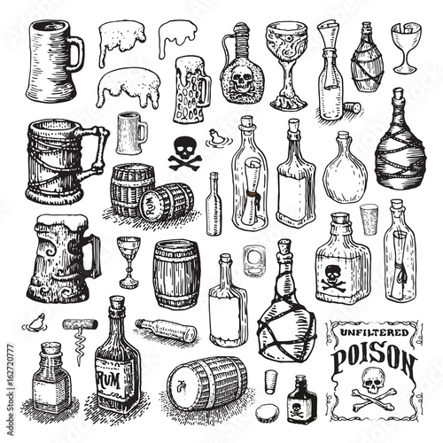 Vector illustrated set of various bottles, mugs, glasses and barrels