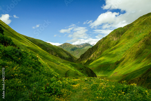 The green Caucasian valley in summer looks like Alps