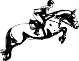 Horsewoman and a horse are jumping over an obstacle, are in mid-air. - 162728775