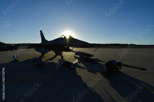 Fighter aircraft on the runway