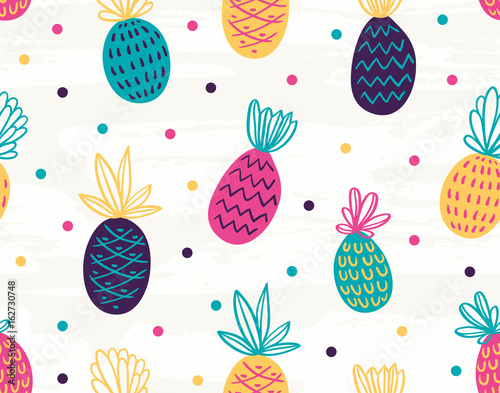 Cotton fabric Vector seamless pattern with palm trees. Bright hand drawn fabric design.