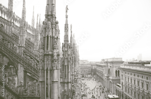 Milan, duomo aerial view from the top of the cathedral