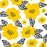 Hand Drawn Flowers Seamless Pattern - 162737719