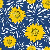Hand Drawn Flowers Seamless Pattern - 162737797